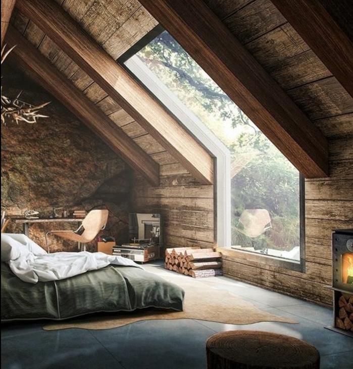 amenagement comble, comble aménagé en chambre à coucher, déco en bois, toiture charpente en bois, coin travail bureau, chaise en bois, lit, cheminée, cadre pastoral