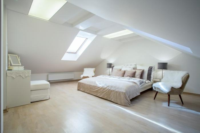 amenagement combles, parquet clair, linge de lit en beige et blanc, chaise scandinave, beige en bois, peinture murale blanche