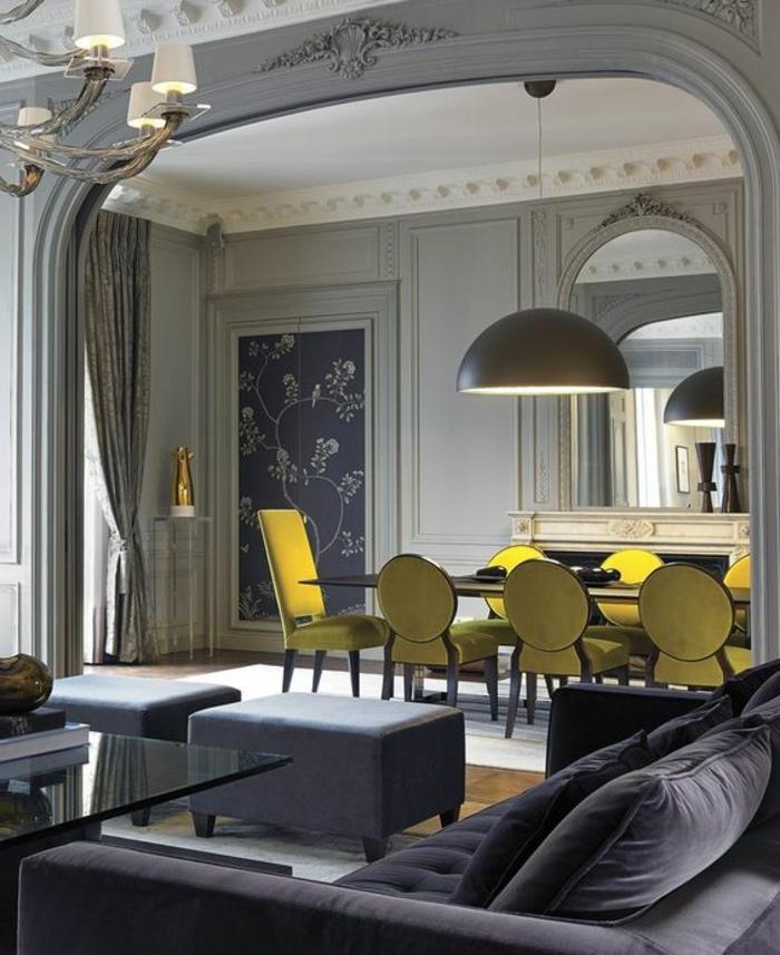 déco jaune, salle à manger et salon gris, intérieur imposant en gris clair