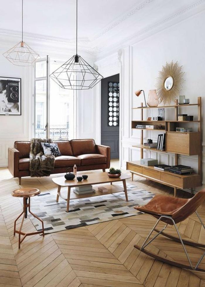 déco minimaliste, buffet mid century en bois, table basse et tabouret vintage