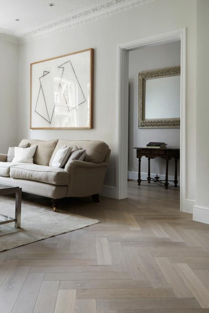 déco minimaliste, sofa confortable, peinture abstraite, sol parqueté