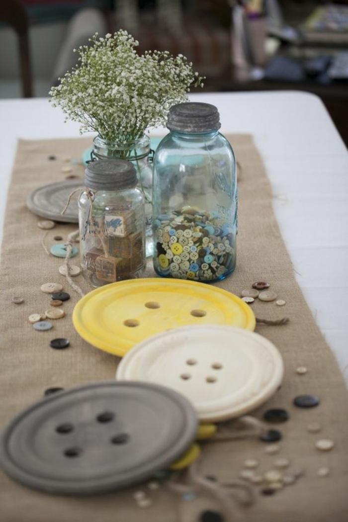 un centre de table rustique pour une baby shower fille ou garçon