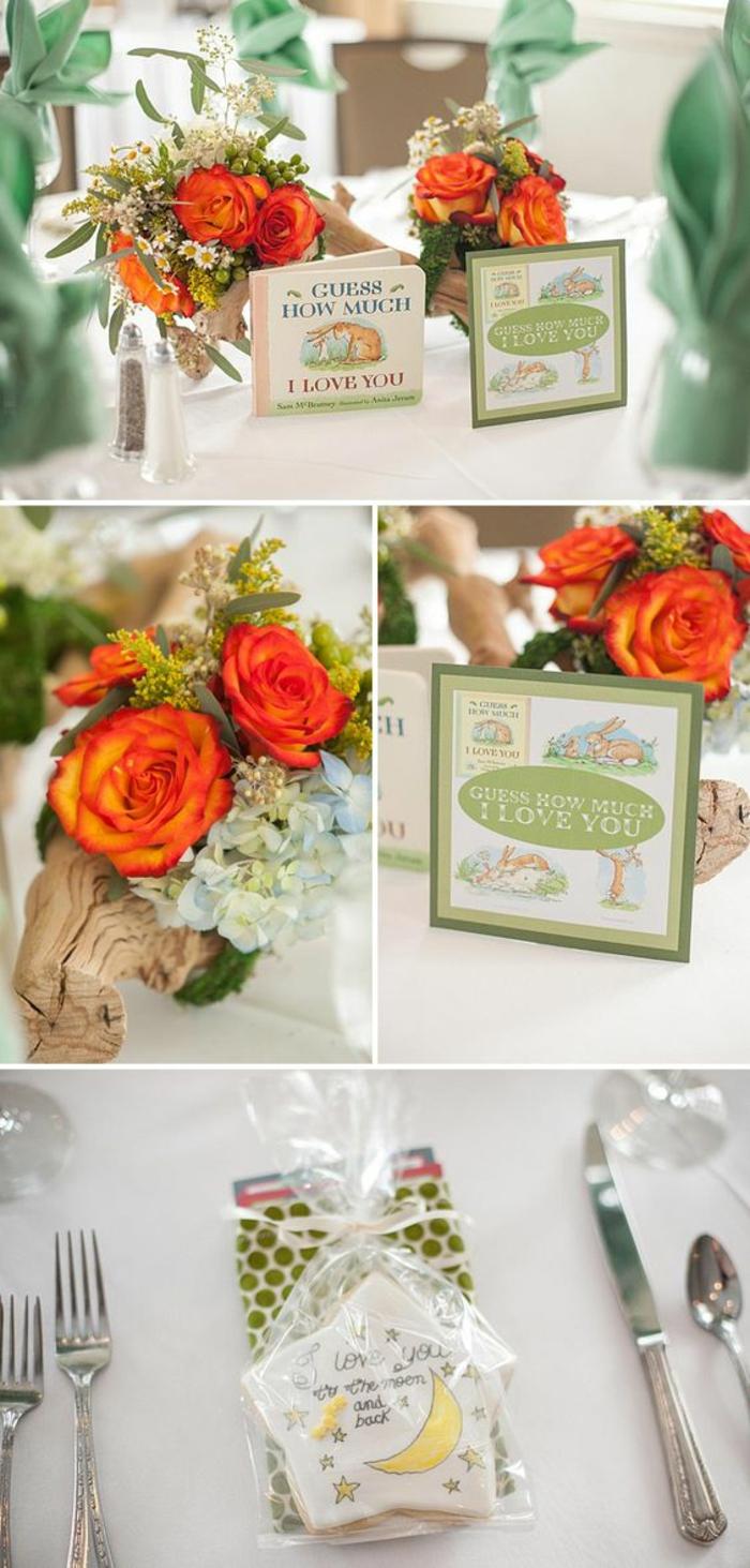 déco de table en bois et fleurs, organiser une baby shower inoubliable