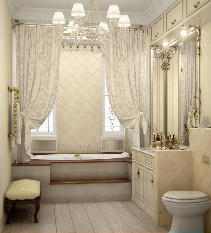 deco baroque, rideaux longs, salle de bain, grand miroir avec décoration dorée