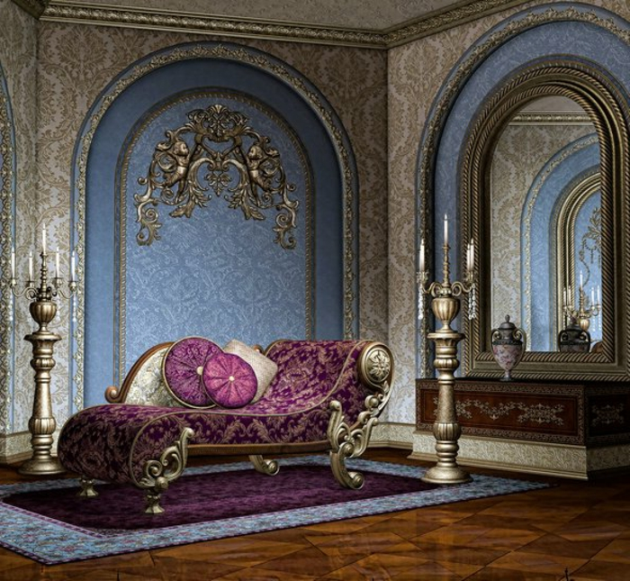 mobilier baroque, parquet marron, murs bleus avec déco dorée, grands bougeoirs, grand miroir
