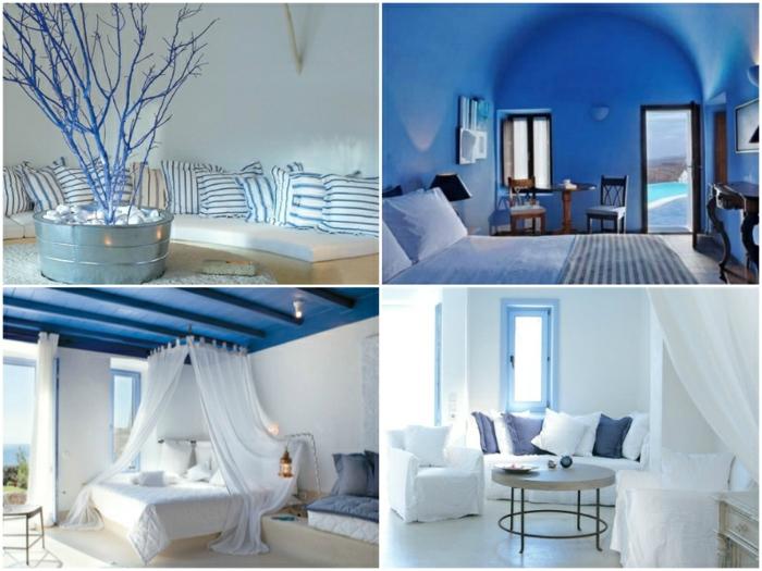bleu grec sur les murs et le plafond, lit à baldaquin, branchettes séchées, coussins décoratifs