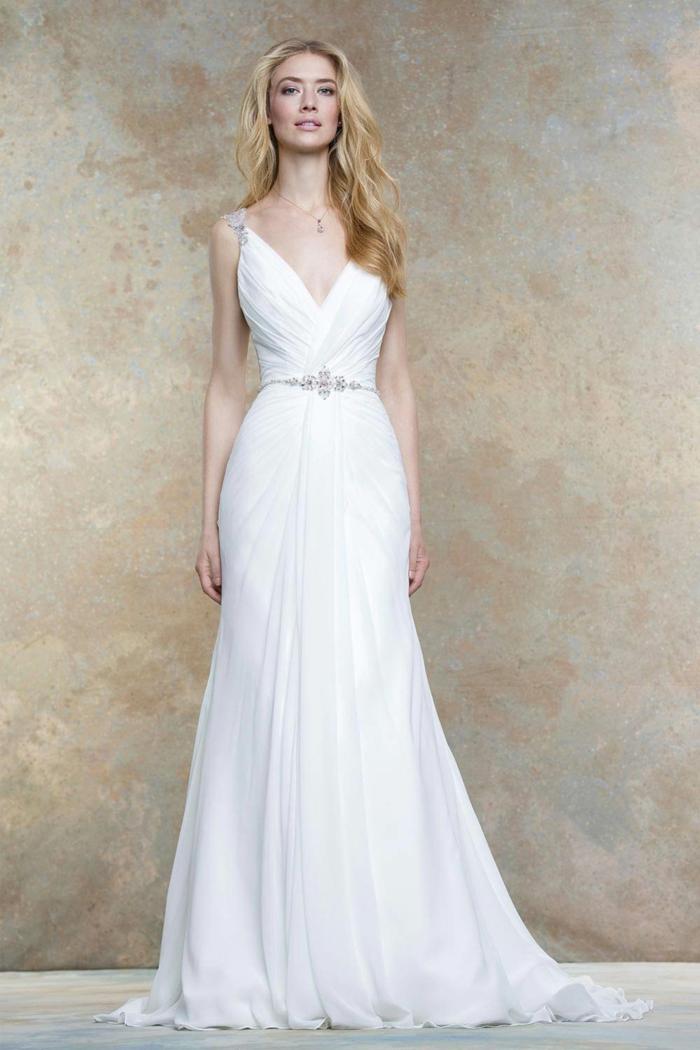 robe grecque, collier en cristaux, décolleté en V, robe à forme sirène
