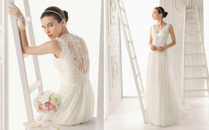 robe grecque, dos transparent en dentelle et boutons, chignon avec tiara en cristaux