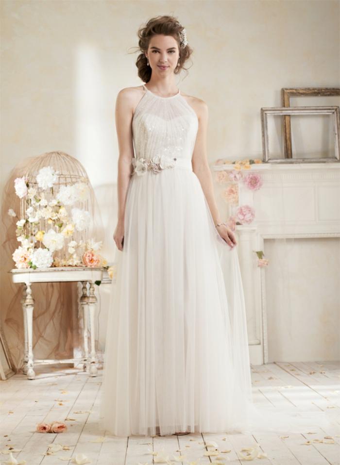 robe déesse grecque, emmanchure américaine transparente, bustier cœur, ceinture avec fleur
