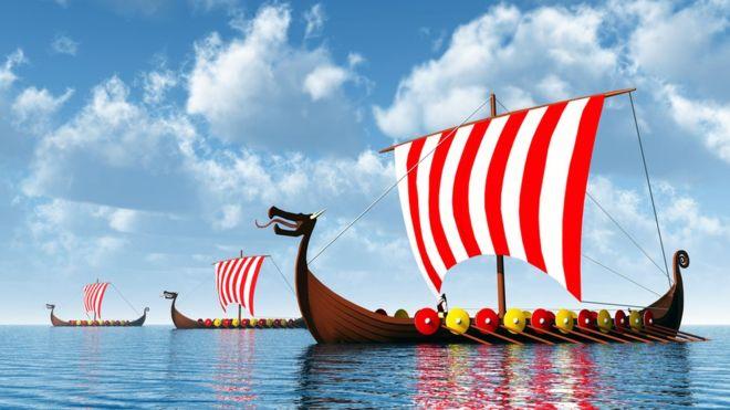 image de bateaux drakkars de viking, représentant l'exportation du design scandinave