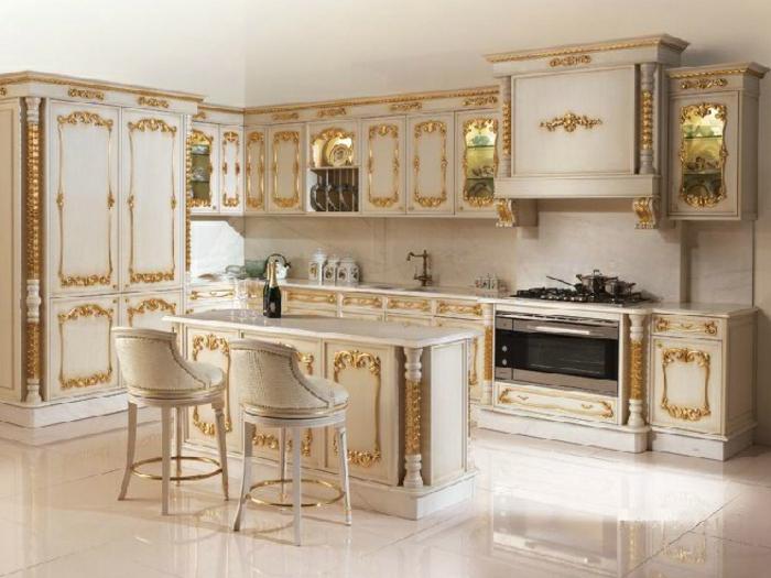 1001 designs sublimes pour une d co baroque - Cuisine en blanc ...