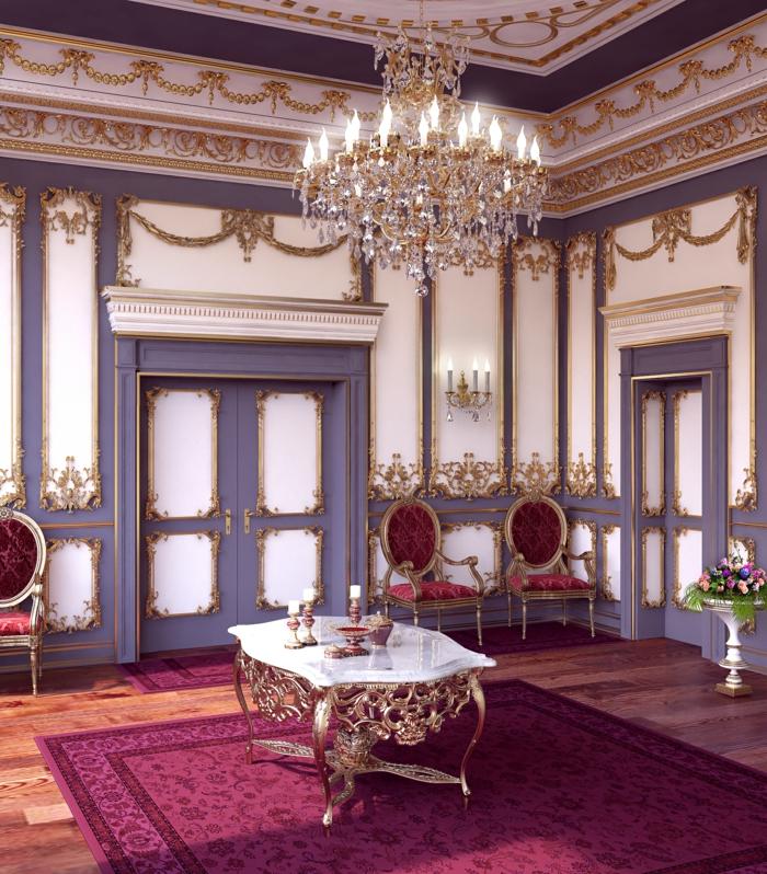 meuble baroque, plafond avec déco en plâtre, lustre en cristaux, tapis à motifs floraux, meubles de charme