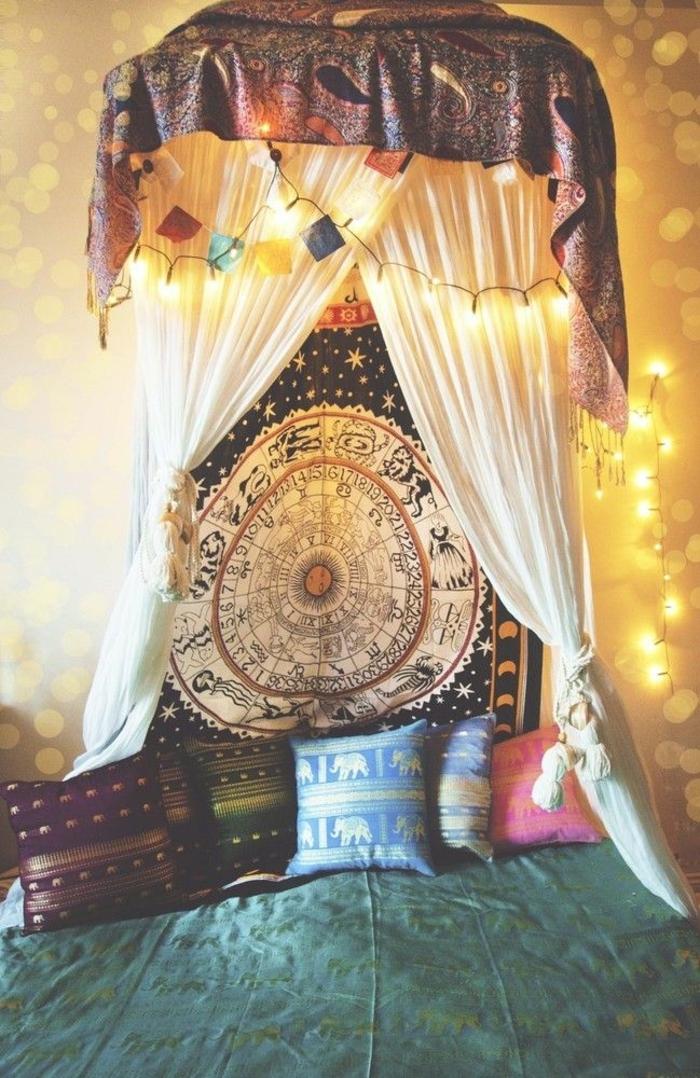 chambre hippie, jeté de lit vert, tapisserie ethnique, guirlande lumineuse