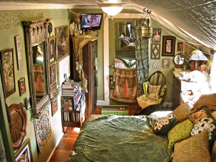decoration boheme, jeté de lit kaki, photos, coussins décoratifs, parquet en bois