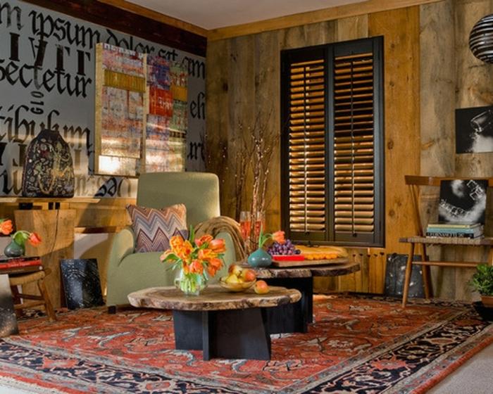 chambre hippie, tapis ethnique, fauteuil vert, bouquet de tulipes oranges