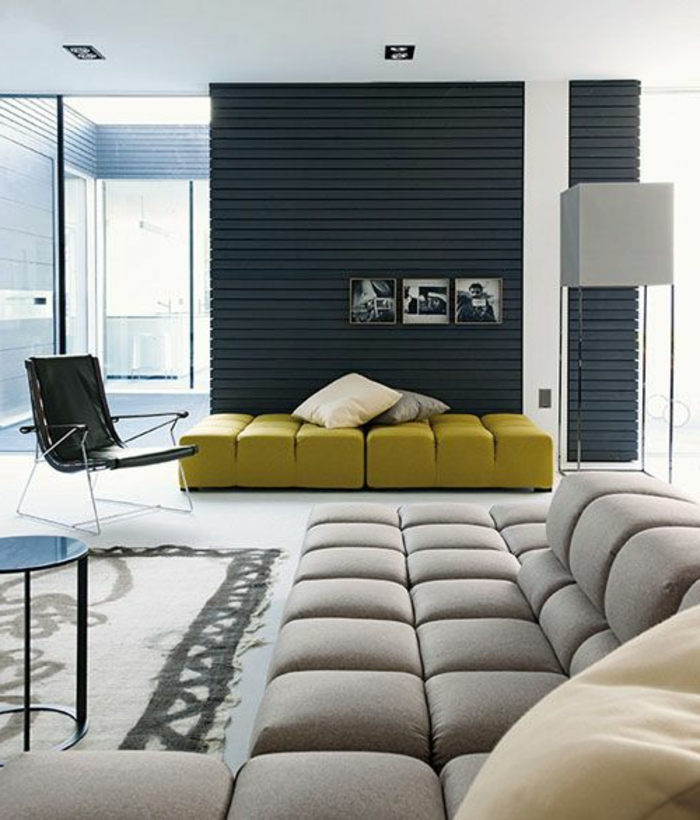 1001 variantes de salon gris et jaune pour vous inspirer l 39 essayer. Black Bedroom Furniture Sets. Home Design Ideas