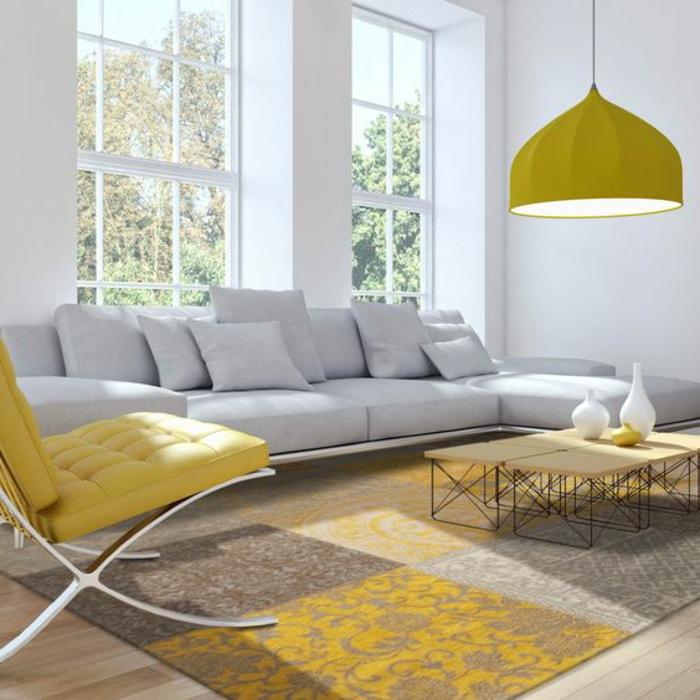 deco jaune gris, chaise jaune, plafonnier jaune design, grand sofa gris clair
