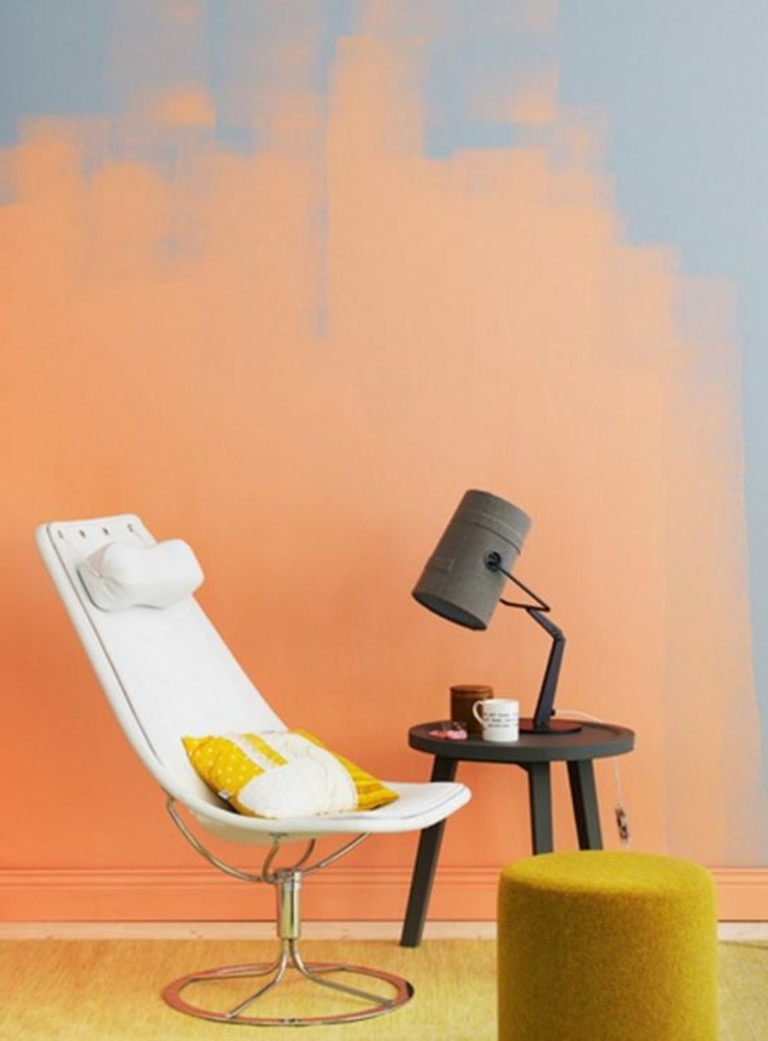 1001 id es pour votre peinture murale originale - Peinture jaune et gris ...