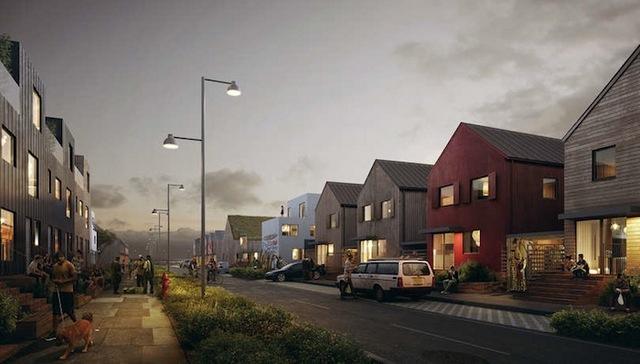 image synthétique d'une rue suédoise et de ses maisons à l'architecture scandinave