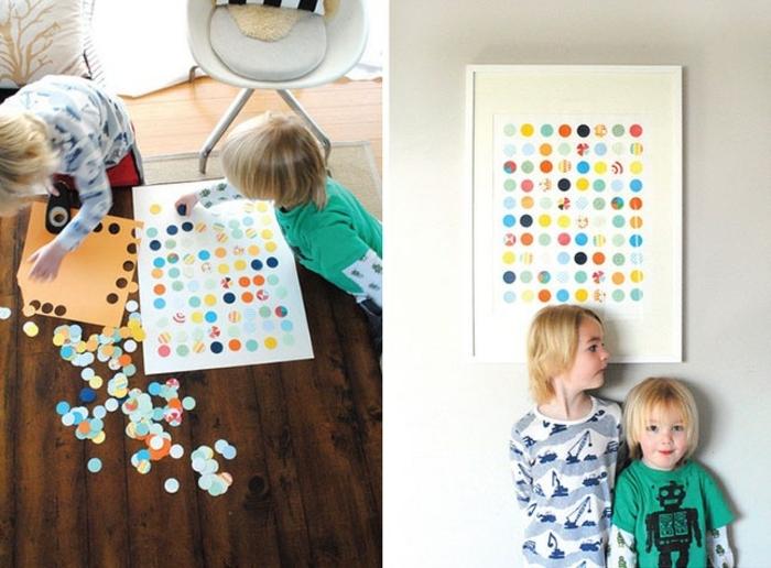 décorer sa chambre, points multicolores collés sur un bout de papier blanc, encadrement blanc, tuto deco, diy faciole et rapide, activité créative enfant