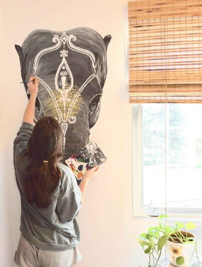 deco chambre boheme, peinture éléphant, fille bohème, grande fenêtre