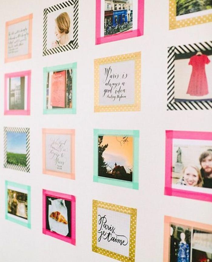 photos et images, encadrement de bandes de washi tape, comment décorer sa chambre, deco murale, souvenirs, citations inspirantes