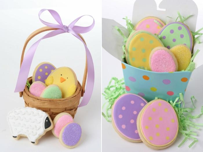 des sablés de paques décorés dans un panier, biscuits glacage chocolat en forme d oeufs de paques, poussins et agneau de paques