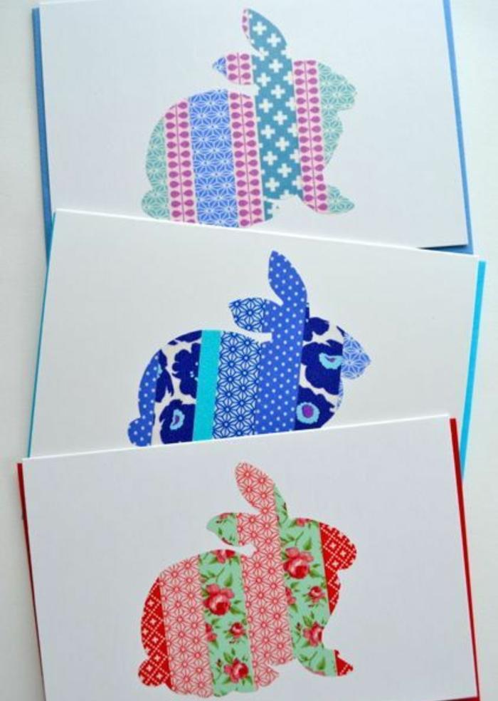 silhouettes de lapin de paques en bandes de masking tape, motifs géométriques et floraux, idée de carte joyeuses paques