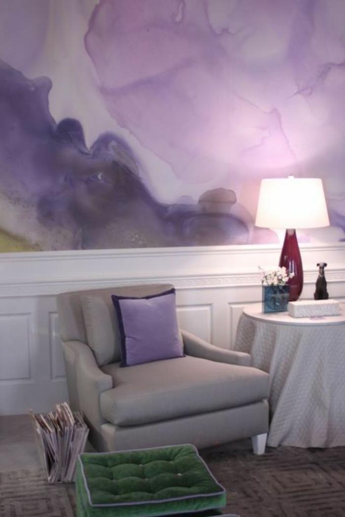 design peinture murale, peinture mur déco en nuances lilas