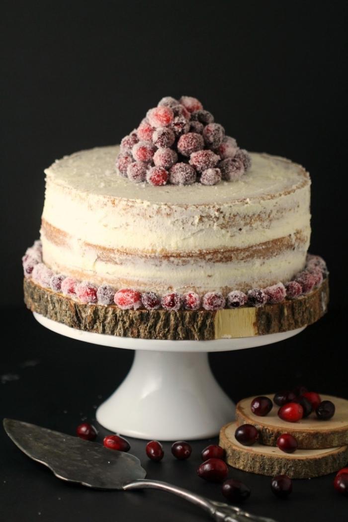 magnifique idée pour un gâteau d'anniversaire sans oeufs, comment décorer un gâteau avec fruits sucrés et glaçage