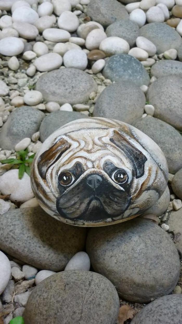 peindre des galets, chien au regard touchant recréé dur un galet
