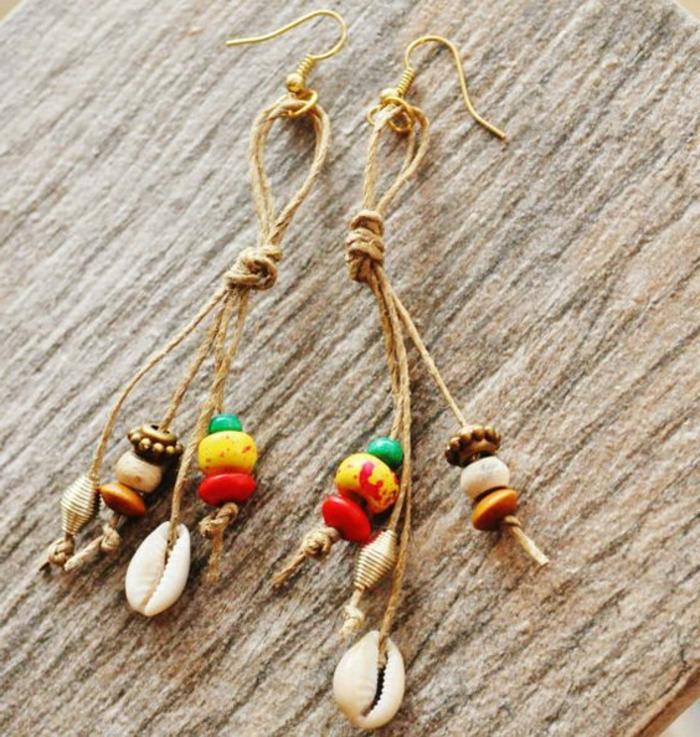 fabriquer ses boucles d'oreilles en matériaux simples et avec ficelle