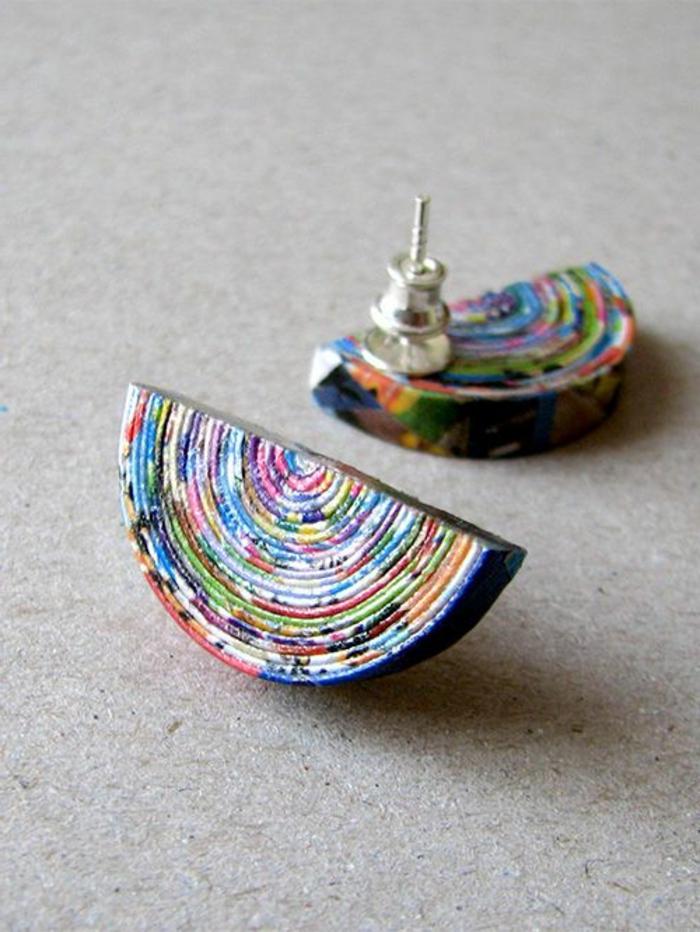 fabriquer ses boucles d'oreilles en papier recyclé