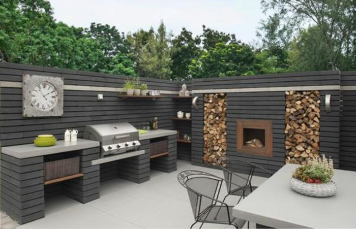 une cuisine d'extérieur gris anthracite au design industriel