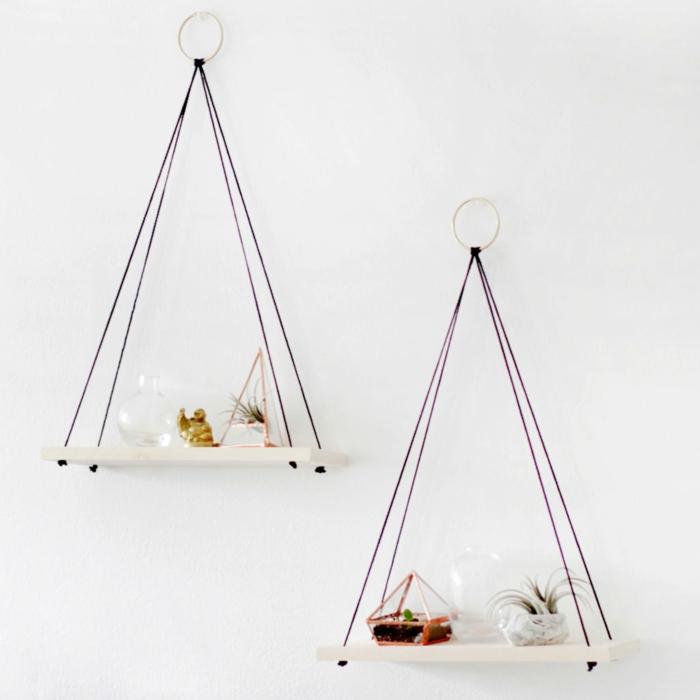 etagere suspendue, tuto deco, diy facile, etagere en planche de bois et corde, idee creation deco pour agrementer un mur dans la chambre à coucher