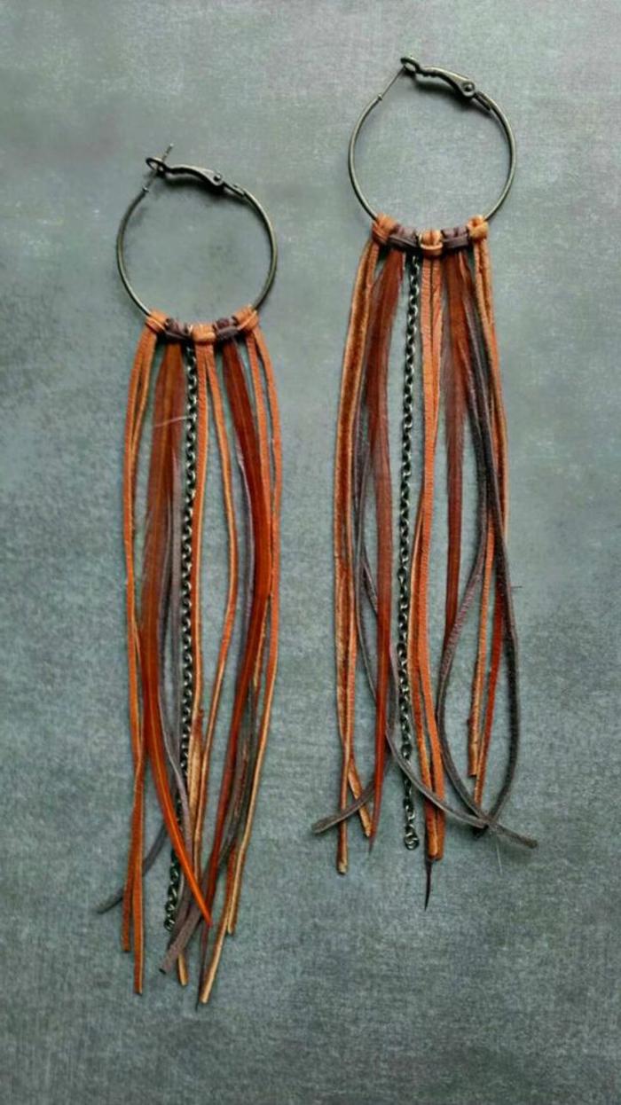 fabriquer ses boucles d'oreilles avec franges en cuir