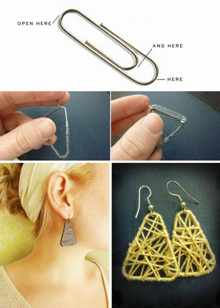 fabriquer des boucles d'oreilles avec fil en coton et trombones