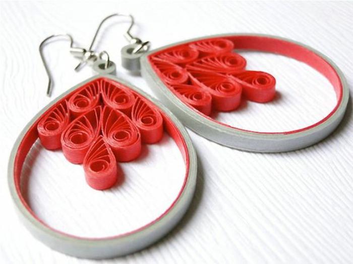 fabriquer ses boucles d'oreilles, pendentifs jolies figures en papier rouge