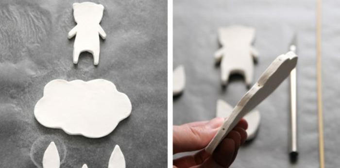 idée créative pour un mobile bébé en argile, décoration chambre bébé mixte élégante