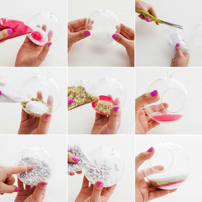 boule en verre à suspendre, manucure violette, sable rose, paire de ciseaux, cailloux blancs