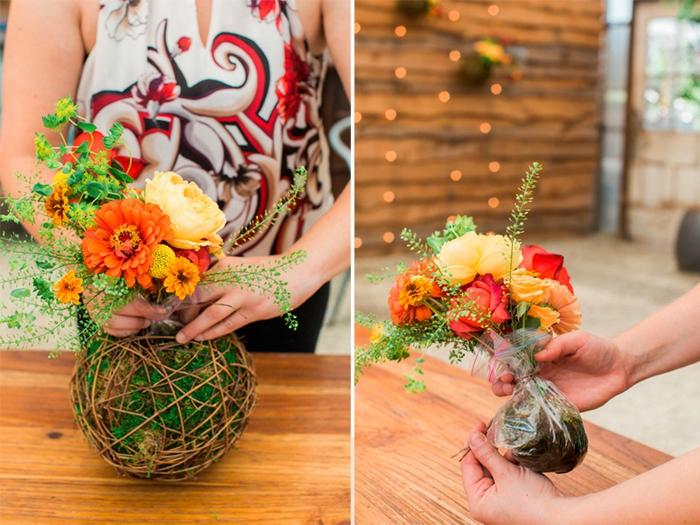 terrarium suspendu, diy décoration, fleurs artificielles, bouquet, boule en ficelle