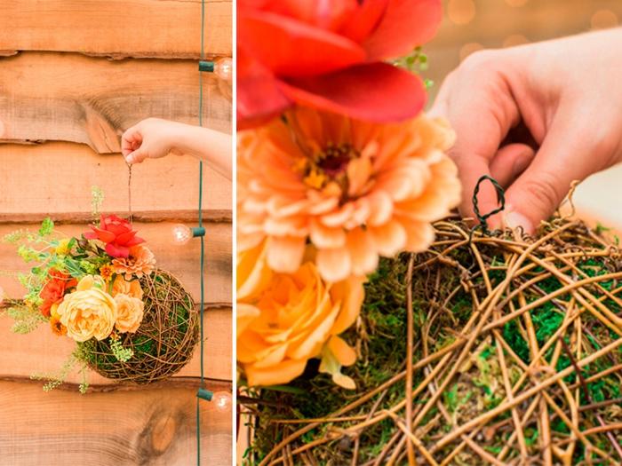 terrarium végétal, diy décoration, fleurs artificielles, boule en ficelle, faire un terrarium
