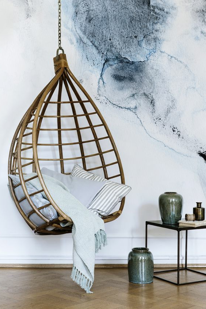 fauteuil balancelle suspendue, peinture murale acrylique