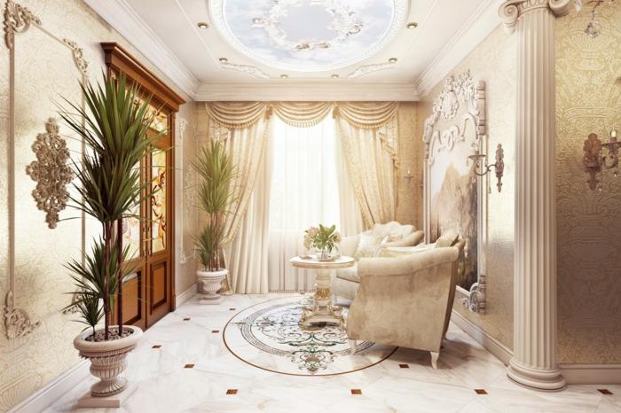 deco baroque, fleurs tropicales, plafond blanc avec déco en plâtre, plancher en marbre, meubles de charme