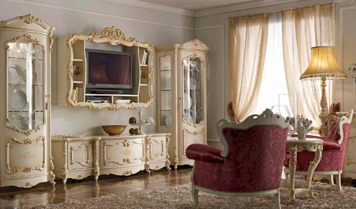meubles de charme, tapis moelleux, fauteuil baroque en rouge, murs blancs