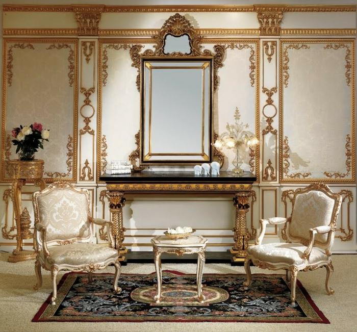 deco baroque, miroir doré, murs à déco dorée, chambre baroque, meubles de charme