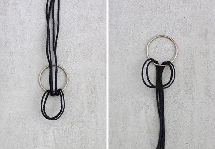 nouer la corde à l anneau pour former un noeud, idée comment faire une etagere suspendue, diy facile, tuto deco