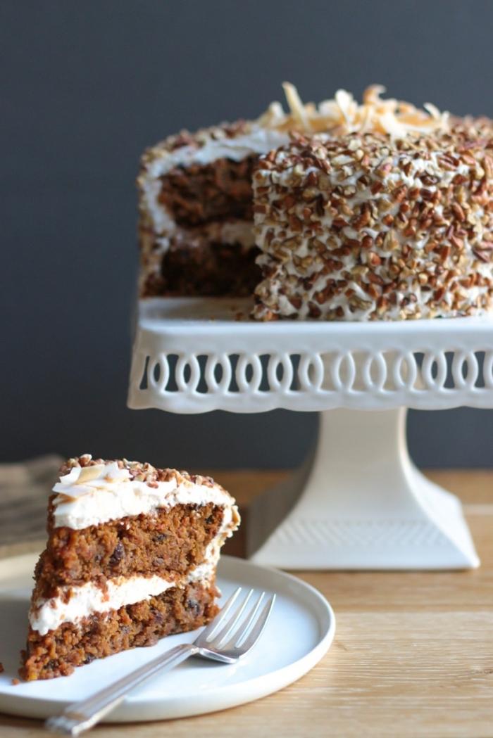 exemple de recette gateau sans oeuf, faire un gâteau au chocolat et noix sans oeufs, idée gâteau facile et rapide