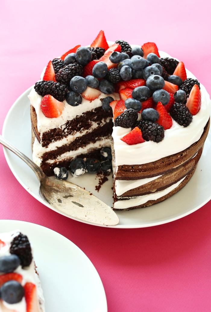 magnifique gâteau fait maison sans oeufs, idée dessert léger au chocolat et aux fruits, exemple layers cake sans oeufs