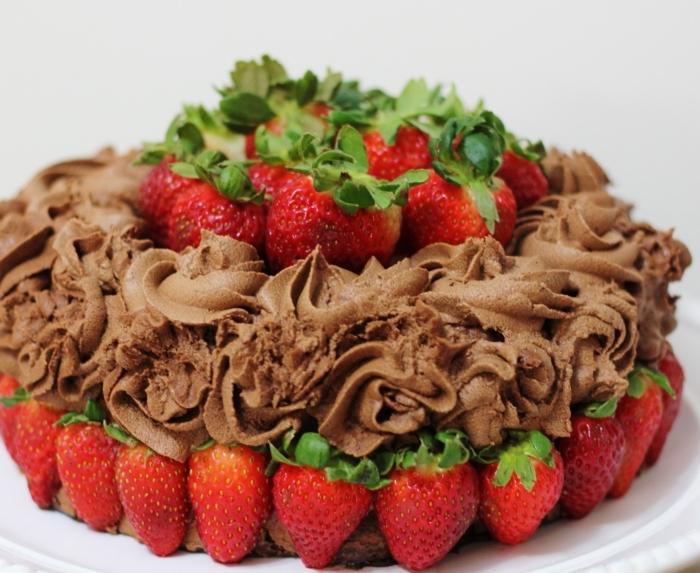 comment préparer un dessert facile au chocolat, idée gâteau léger au chocolat et fraises sans oeufs, gateau chocolat sans oeuf